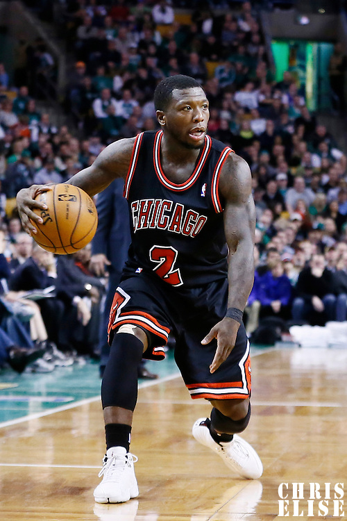 18 January 2013: Chicago Bulls point guard Nate Robinson (2) dribbles during the Chicago Bulls 100-99 overtime victory over the Boston Celtics at the TD Garden, Boston, Massachusetts, USA.