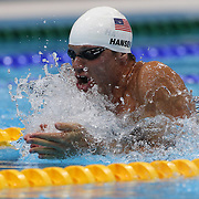 Brendan Hansen, USA, in action during the Men's 100m Breaststroke  heats during the swimming heats at the Aquatic Centre at Olympic Park, Stratford during the London 2012 Olympic games. London, UK. 28th July 2012. Photo Tim Clayton