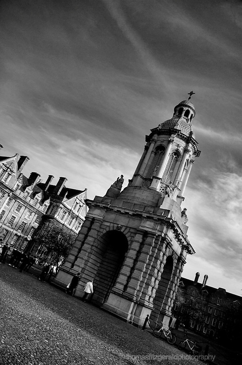 Trinity College, Dublin City, Ireland: An image of the bell tower in the centre of the courtyard at Dublin's Trinity College.