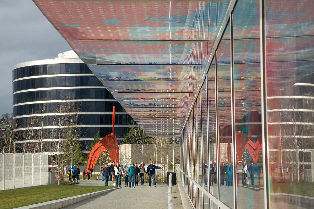 "North America, United States, Washington, Seattle.  Seattle Art Museum's Olympic Sculpture Park. Glass bridge ""Seattle Cloud Cover"" by Terasita Fernaddez"