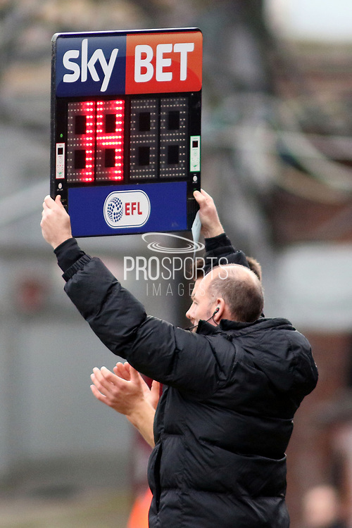 The EFL Sky Bet Substitution Board during the EFL Sky Bet League 1 match between Bradford City and Gillingham at the Northern Commercials Stadium, Bradford, England on 24 March 2018. Picture by Mick Atkins.
