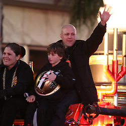 Feb 09, 2010; New Orleans, LA, USA; Mayor elect of New Orleans Mitch Landrieu rides in a float during the Super Bowl celebration parade for the New Orleans Saints 31-17 victory over the Indianapolis Colts in Super Bowl XLIV as the parade passed through the downtown streets of New Orleans, Louisiana.  Mandatory Credit: Derick E. Hingle-US-PRESSWIRE.
