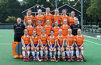 BLOEMENDAAL - teamfoto: voor: vlnr: , Sterre Bregman (Bldaal) , Fee Schreuder (Bldaal) , Merel Aarts (Bldaal),  Pili Romang (Bldaal) , Laurien Boot (Bldaal) , Melle Spruijt (Bldaal) , Myrthe van Kesteren (Bldaal)   Danique Visser (Bldaal). midden: Diana Beemster (Bldaal), Philine de Nooijer (Bldaal) , Sophie Schlatmann (Bldaal) , Noor Smit (Bldaal), , Bodine Boelaars (Bldaal) , Michelle van der Drift (Bldaal) Danique Visser (Bldaal) , . boven: Carmel Bosch (Bldaal) , Kim van Leeuwen (Bldaal) , Lisa Lejeune (Bldaal) , Anne Abendroth (Bldaal) , Nine Rijna (Bldaal) , Sanne Caarls (Bldaal) ,  Bloemendaal  Dames I seizoen 2018/2019. COPYRIGHT KOEN SUYK
