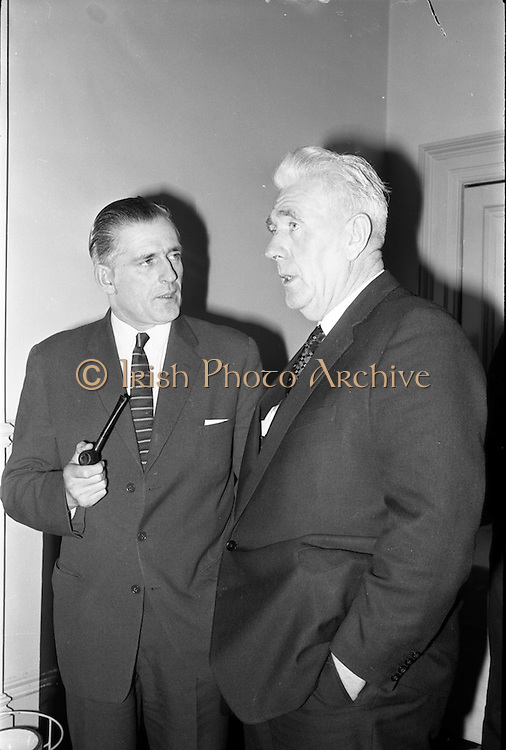 11/01/1963<br /> 01/11/1963<br /> 11 January 1963<br /> Bord Bainne (Irish Dairy Produce Board) meet Northern Ireland Milk Board to discuss problems of mutual interest at the Shelbourne Hotel, Dublin. Pictured at the meeting were (l-r): Mr J.K. Lynn, (N.I. Chairman) and Mr P.J. Power, (Chairman An Bord Bainne).
