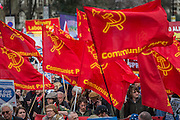 The Communist party shows its support - A march against cuts to and potential privatisation of the NHS starts in Tavistock Square and heads for Parliament Square. The march was organised by the peoples assembly and supported by most major unions and the Labour Party. London  04 Mar 2017