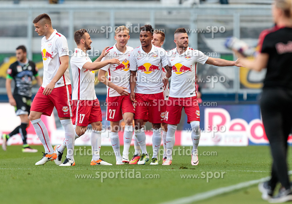 07.05.2016, Red Bull Arena, Salzburg, AUT, 1. FBL, FC Red Bull Salzburg vs SK Puntigamer Sturm Graz, 34. Runde, im Bild Torjubel Red Bull, Duje Caleta Car (Red Bull Salzburg), Andreas Ulmer (Red Bull Salzburg), Konrad Laimer (Red Bull Salzburg), Valentino Lazaro (Red Bull Salzburg), Valon Berisha (Red Bull Salzburg) // during Austrian Football Bundesliga 34th round Match between FC Red Bull Salzburg and SK Puntigamer Sturm Graz at the Red Bull Arena, Salzburg, Austria on 2016/05/07. EXPA Pictures © 2016, PhotoCredit: EXPA/ JFK