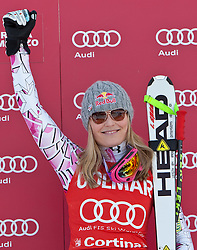 23.01.2011, Tofana, Cortina d Ampezzo, ITA, FIS World Cup Ski Alpin, Lady, Cortina, SuperG, im Bild Lindsey Vonn (USA, #18, Platz 1) // Lindsey Vonn (USA, place 1)  during FIS Ski Worldcup ladies SuperG at pista Tofana in Cortina d Ampezzo, Italy on 23/1/2011. EXPA Pictures © 2011, PhotoCredit: EXPA/ J. Groder
