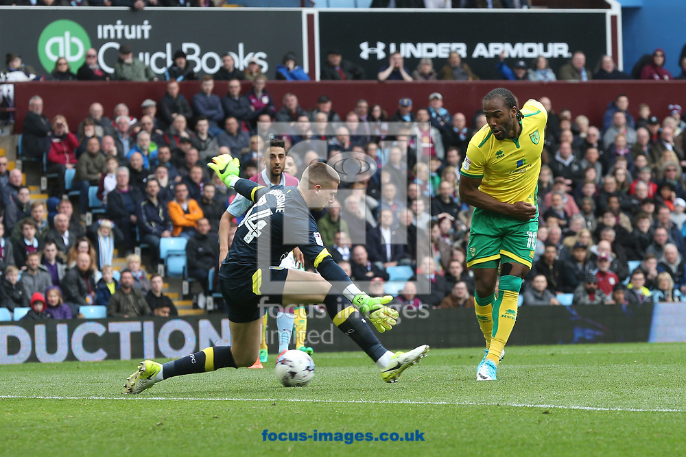 Cameron Jerome of Norwich misses a great chance during the Sky Bet Championship match at Villa Park, Birmingham<br /> Picture by Paul Chesterton/Focus Images Ltd +44 7904 640267<br /> 01/04/2017