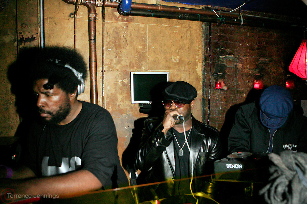 "Questlove and Black Thought(The Roots) at The Roots Album realease party for ""Roots Down"" at Sutra on April 29, 2008"".. The Legendary Roots Crew, the influential, Grammy Award-winning American band from Philadelphia, Pennsylvania, famed for a heavily jazzy sound and live instrumentation, have made 10 Albums to date."