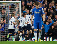 Picture by Alan Stanford/Focus Images Ltd +44 7915 056117.08/05/2013.Tottenham Hotspur players celebrate their goal during the Barclays Premier League match at Stamford Bridge, London..