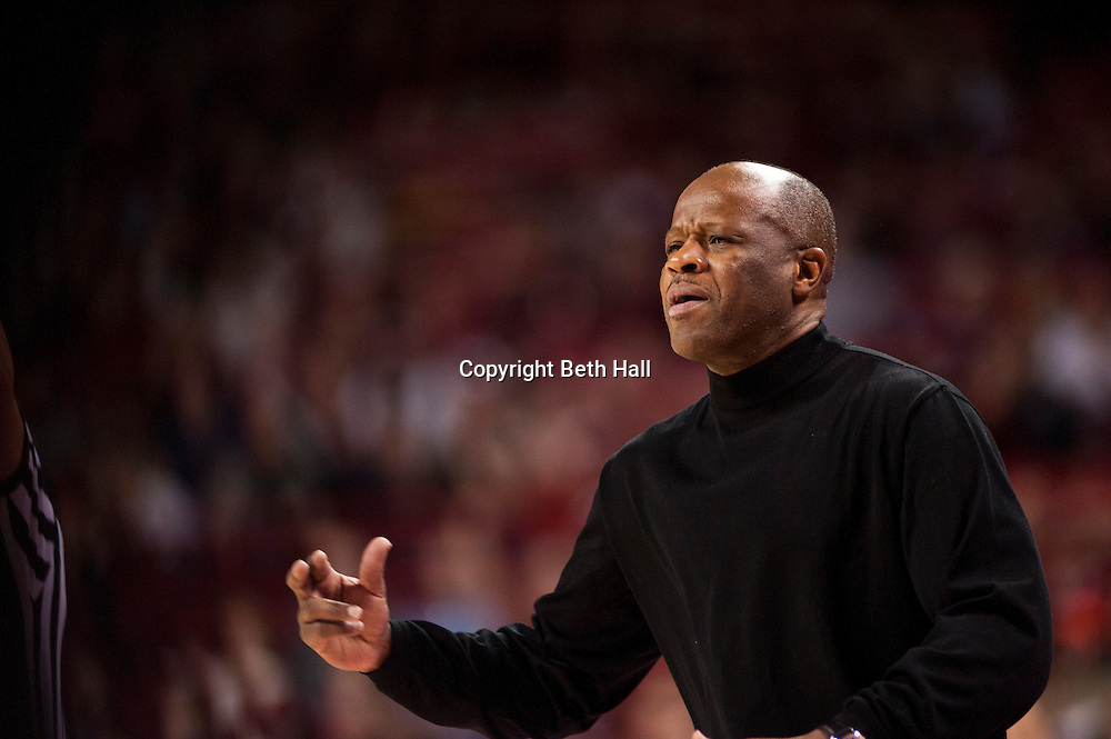 Dec 17, 2011; Fayetteville, AR, USA; Arkansas Razorbacks head coach Mike Anderson reacts during a game against the Southeastern Louisiana Lions at Bud Walton Arena. Arkansas defeated Southeastern Louisiana 62-55. Mandatory Credit: Beth Hall-US PRESSWIRE