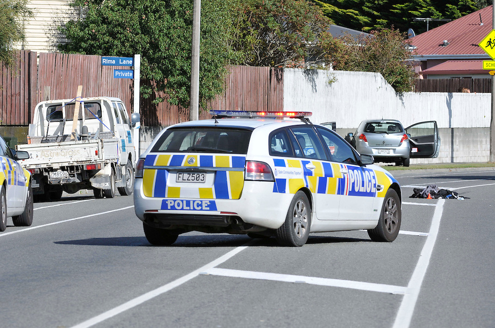 The scene in Hoonhay Road where a knife armed offender was shot by Police, Christchurch, New Zealand, Thursday, March 15, 2012. Credit:SNPA / David Alexander