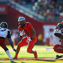 Running back Justin Goodwin #32 of Rutgers rushes the ball during American Athletic Conference Football action between Rutgers and Cincinnati on Nov. 16, 2013 at High Point Solutions Stadium in Piscataway, New Jersey.