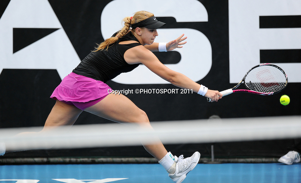 Sabine Lisicki in action during her second round singles match against Mona Barthel (GER) at the 2012 ASB Tennis Classic at the ASB tennis centre, Stanley st. Auckland. Wednesday 4  January 2012 Photo: Andrew Cornaga/photosport.co.nz