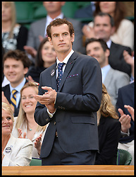 Great Britain's Olympians Andy Murray in the royal box at The Wimbledon Tennis Championships<br /> The All England Lawn Tennis Club, Wimbledon, United Kingdom<br /> Saturday, 29th June 2013<br /> Picture by Andrew Parsons / i-Images