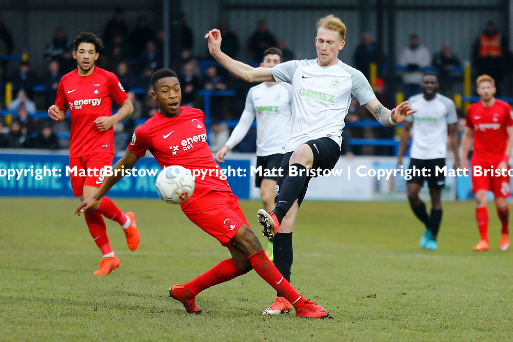 Dover's forward Mitchell Pinnock passes the ball during the The FA Trophy match between Dover Athletic and Leyton Orient at Crabble Stadium, Kent on 3 February 2018. Photo by Matt Bristow.