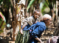 Mother works on farm in Sodo region south of Adis Ababa in Ethiopia with Child on her back . Photo:Andrew Downes