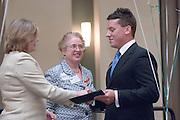 18174Sales Celebration and Awards Ceremony, April 19, 2007. Walter Hall Rotunda...Ralph & Luci Schey Scholarships..Mrs.Dorothy Schey, Dr. Catherine Axinn & Kyle Neff