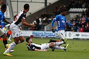 Oviemuno Ejaria of Rangers fouled by Ian McShane of St Mirren during the Ladbrokes Scottish Premiership match between St Mirren and Rangers at the Simple Digital Arena, Paisley, Scotland on 3 November 2018.