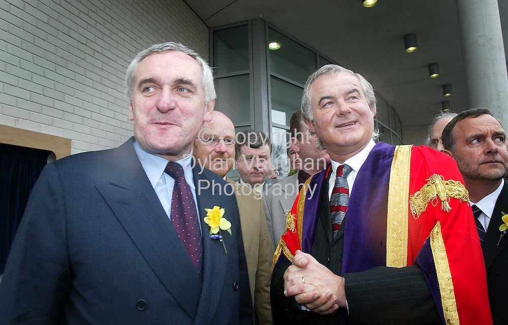 "22/3/2002.The Taoiseach Bertie Ahern and Prof Kieran R Byrne Director of Waterford Institue of Technology pictured yeaterday at the opening of the new library ""Leabharlann Luke Wadding"" at the Institute..Picture Dylan Vaughan"