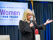 16 JANUARY 2020 - DES MOINES, IOWA: TAMARA SCOTT, from Des Moines, leads the invocation at the Women for Trump rally in Airport Holiday Inn in Des Moines. About 200 women attended the event, which featured Lara Trump, Mercedes Schlapp, and Kayleigh McEnany, surrogates on the campaign trail for President Donald Trump.        PHOTO BY JACK KURTZ