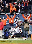 Fans raise their arms and celebrate as Chicago Bears running back Matt Forte (22) scores on a 23 yard touchdown pass that ties the fourth quarter score at 17-17 during the NFL week 17 regular season football game against the Detroit Lions on Sunday, Jan. 3, 2016 in Chicago. The Lions won the game 24-20. (©Paul Anthony Spinelli)