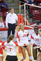 09 October 2009: Laura Wakefield, Kasey Mollerus, Mallory Leggett, Hailey Kelley celebrate a Redbird score. The Redbirds of Illinois State defeated the Braves of Bradley in 3 sets during play in the Redbird Classic on Doug Collins Court inside Redbird Arena in Normal Illinois