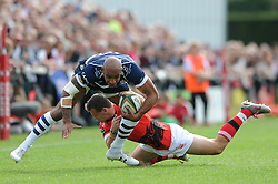 Bristol Rugby Winger Tom Varndell is challenged by London Welsh Scrum-Half Rob Lewis - Mandatory byline: Dougie Allward/JMP - 07966 386802 - 13/09/2015 - RUGBY UNION - Old Deer Park - Richmond, London, England - London Welsh v Bristol Rugby - Greene King IPA Championship.