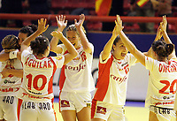 03.12.2008 Ohrid (FYR Macedonia)<br />Norway-Spain European women's handball championship<br /> Fernandez Begona(4L) with Alonso Jessica(5L) Spain celebrate good result after match 21:21 <br />Foto:Aleksandar Djorovic