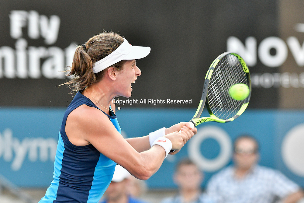 13.01.17 Sydney Olympic Park, Sydney, Australia.  Johanna Konta (GBR) in action against  Agnieszka Radwanska (POL) during their womens final match on day 6 at the Apia International Sydney. Konta won 6-4,6-2.