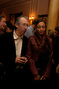 Ian McEwan and Zadie Smith. Book party for 'Saturday' by Ian McEwan, Polish Club, South Kensington.  4 February 2005. ONE TIME USE ONLY - DO NOT ARCHIVE  © Copyright Photograph by Dafydd Jones 66 Stockwell Park Rd. London SW9 0DA Tel 020 7733 0108 www.dafjones.com