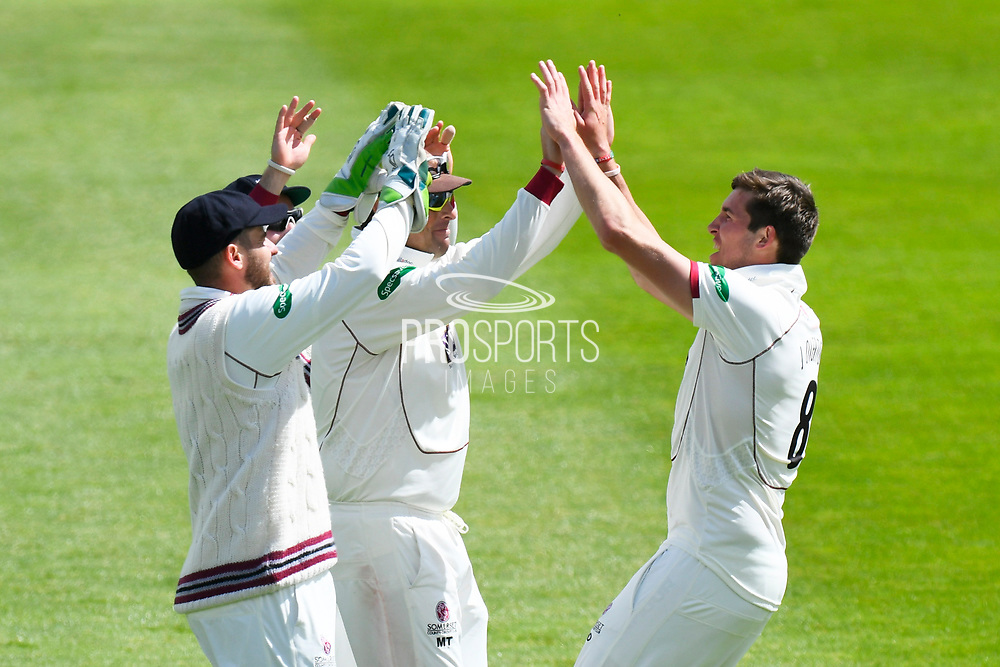 Jamie Overton of Somerset celebrates taking the wicket of Ian Westwood of Warwickshire during the Specsavers County Champ Div 1 match between Somerset County Cricket Club and Warwickshire County Cricket Club at the Cooper Associates County Ground, Taunton, United Kingdom on 19 May 2017. Photo by Graham Hunt.