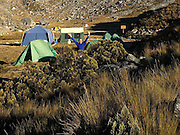 Pisco Base Camp 4,700m below the summits of Huandoy Norte (North) 6,395m (left) and Huandoy Este (East) 6,068m (right).