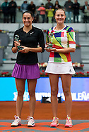 Caroline Garcia and Kristina Mladenovicduring the Madrid Open at Manzanares Park Tennis Centre, Madrid<br /> Picture by EXPA Pictures/Focus Images Ltd 07814482222<br /> 07/05/2016<br /> ***UK &amp; IRELAND ONLY***<br /> EXPA-ESP-160507-0022.jpg