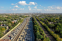 October 3, 2018 - Chicago, Illinois, United States - Masses of vehicles move slowly during afternoon rush hour at the 1-90 Kennedy Expressway and the I-94 Edens Split on October 3, 2018 in Chicago, Illinois. (Credit Image: © Patrick Gorski/NurPhoto/ZUMA Press)