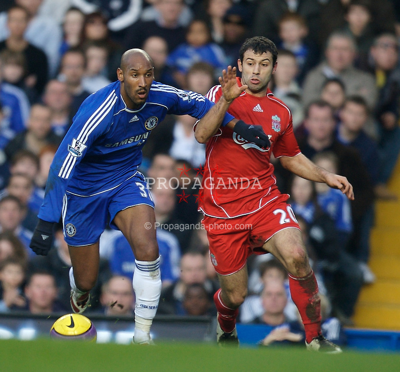 LONDON, ENGLAND - Sunday, February 10, 2008: Liverpool's Javier Mascherano and Chelsea's Nicolas Anelka during the Premiership match at Stamford Bridge. (Photo by David Rawcliffe/Propaganda)