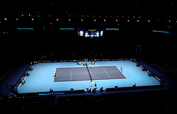 Serbia's Novak Djokovic (left) and Croatia's Marin Cilic (right) in action during the singles match on day six of the Nitto ATP Finals at The O2 Arena, London. PRESS ASSOCIATION Photo. Picture date: Friday November 16, 2018. See PA story TENNIS London. Photo credit should read: John Walton/PA Wire. RESTRICTIONS: Editorial use only, No commercial use without prior permission.