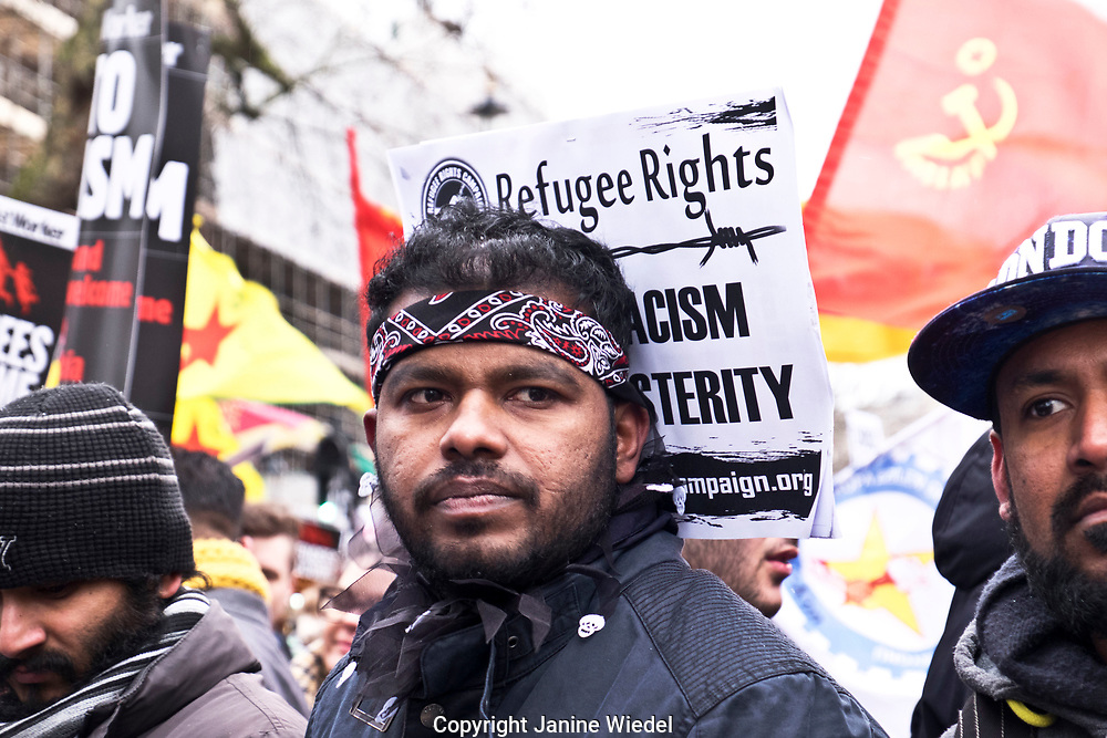 Stand up against Racism, International demonstration in London to mark UN anti-racism day. March 17 2018
