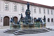 Brunnenhof Residence, Brunnenhof Residenz, with fountain in old Munich, Bavaria, Germany