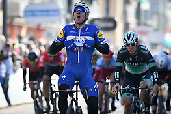 March 21, 2018 - De Panne, BELGIUM - Italian Elia Viviani of Quick-Step Floors (C) wins before German Pascal Ackermann of Bora-Hansgrohe (R) the sprint at the finish of the first stage of the Driedaagse Brugge - De Panne cycling race, 202.4 km from Brugge to De Panne, Wednesday 21 March 2018. BELGA PHOTO DAVID STOCKMAN (Credit Image: © David Stockman/Belga via ZUMA Press)