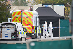 © Licensed to London News Pictures. 23/10/2019. London UK: Forensic investigators at the Waterglade industrial estate in Thurrock, Essex after 39 bodies were found in the back of a lorry believed to have come from Bulgaria , Photo credit: Steve Poston/LNP