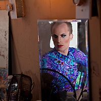 Drag Queen Katya at backstage for a show at Jacques Cabaret in Bay Village neighborhood of Boston, MA USA on April 15, 2012.<br /> Jacques Cabaret (EST: 1931) is the oldest drag queen live cabaret in Boston, MA USA.