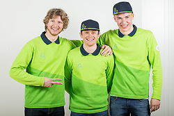 Klemen Kosi, Miha Simenc and Janez Lampic during the outfitting of the Slovenian Olympic Team for PyeongChang 2018, on January 29, 2018 in GH Union, Ljubljana, Slovenia. Photo by Urban Urbanc / Sportida