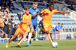 Harry Anderson of Peterborough United in action with Colchester United's Joe Edwards and Kane Vincent-Young - Mandatory byline: Joe Dent/JMP - 07966386802 - 15/08/2015 - FOOTBALL - ABAX Stadium -Peterborough,England - Peterborough United v Colchester United - Sky Bet League One