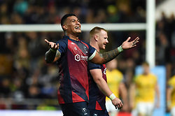 Nathan Hughes of Bristol Bears celebrates at the final whistle - Mandatory byline: Patrick Khachfe/JMP - 07966 386802 - 18/10/2019 - RUGBY UNION - Ashton Gate Stadium - Bristol, England - Bristol Bears v Bath Rugby - Gallagher Premiership