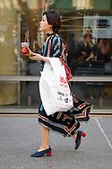 Striped Dress and Blick Art Supply Bag, Astor Place, April 2018