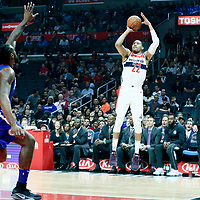 09 December 2017: Washington Wizards forward Otto Porter Jr. (22) takes a jump shot over LA Clippers center DeAndre Jordan (6) during the LA Clippers 113-112 victory over the Washington Wizards, at the Staples Center, Los Angeles, California, USA.