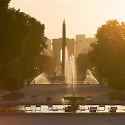 Place de la Concorde Obelisk, Champs_Elysees and Arc di Triomphe from the Jardin des Tuileries at sunset, Paris France<br />