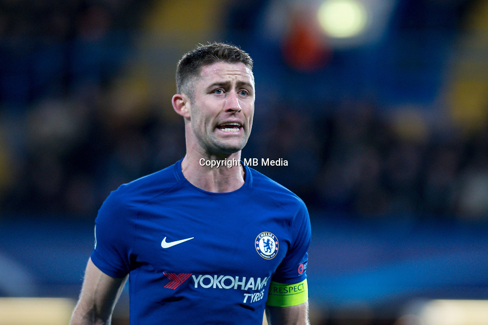 LONDON,ENGLAND - DECEMBER 05: Chelsea (24) Gary Cahill during the UEFA Champions League group C match between Chelsea FC and Atletico Madrid at Stamford Bridge on December 5, 2017 in London, United Kingdom.  <br /> ( Photo by Sebastian Frej / MB Media )