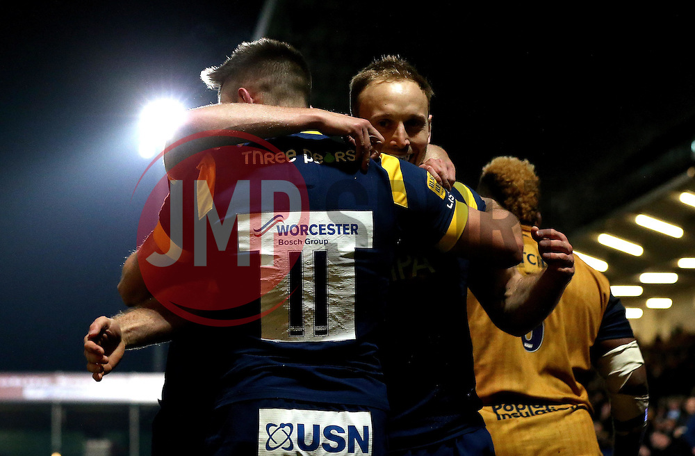 Worcester Warriors celebrate Josh Adams of Worcester Warriors scoring a try - Mandatory by-line: Robbie Stephenson/JMP - 04/11/2016 - RUGBY - Sixways Stadium - Worcester, England - Worcester Warriors v Bristol Rugby - Anglo Welsh Cup